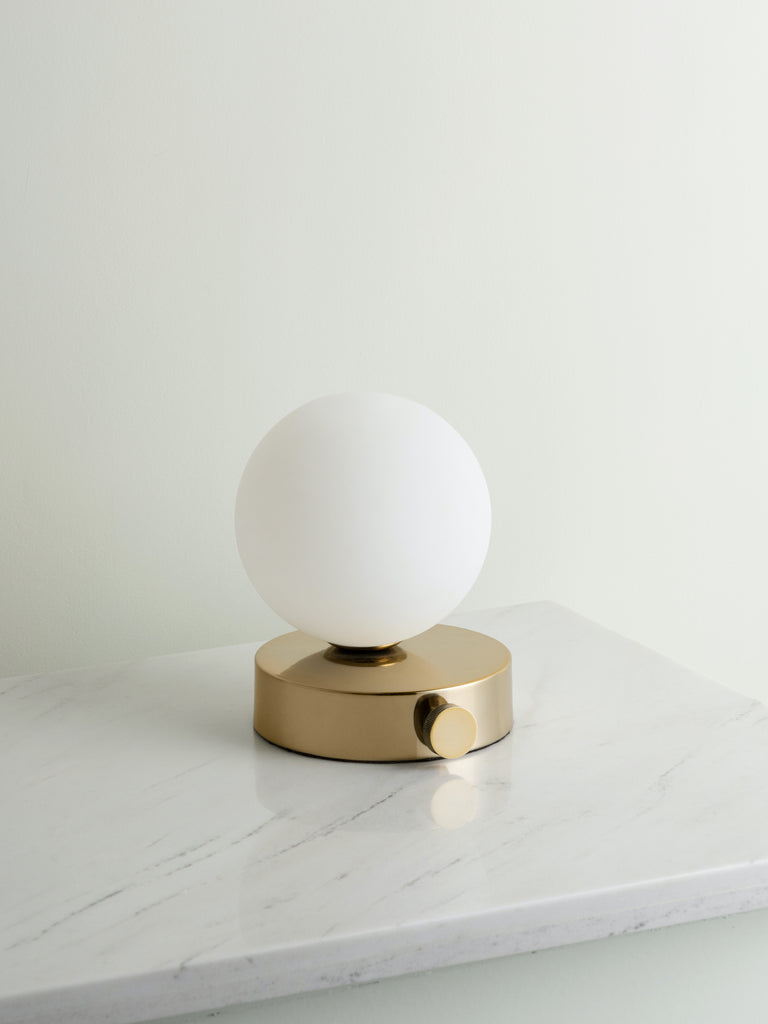 Ducie - 1 light brass and opal ball table lamp