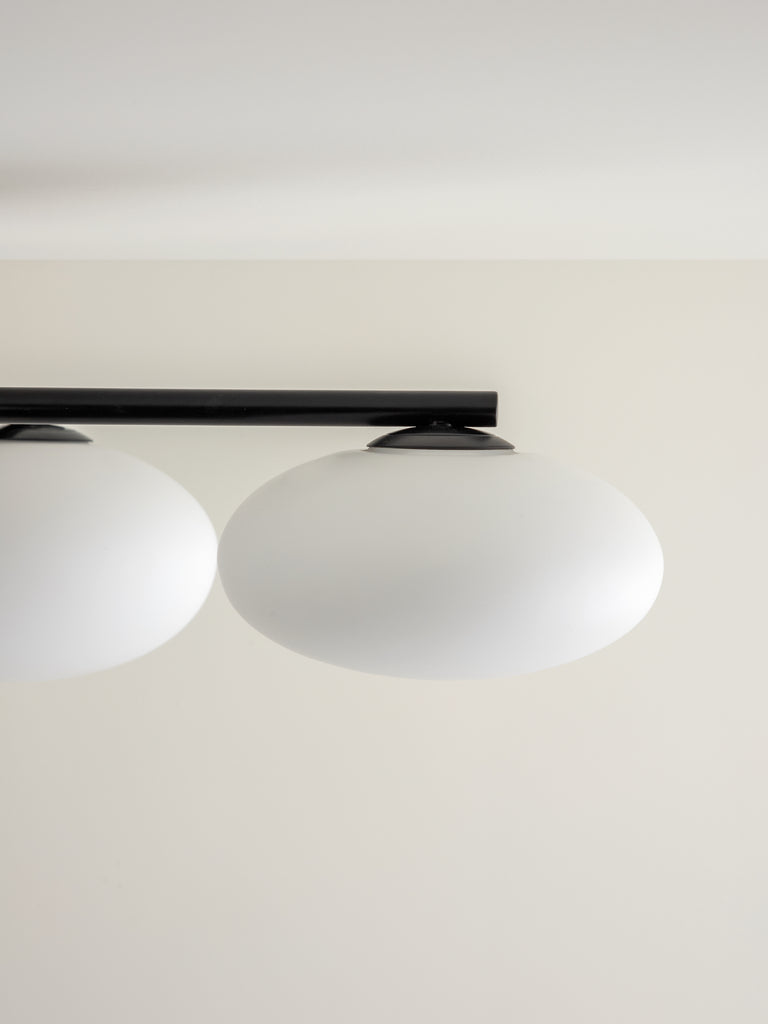 Imperial - 5 light matt black and opal flush