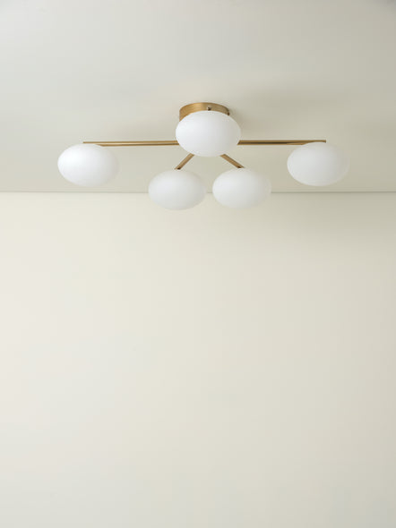Imperial - 5 Light Brass and Opal Flush | Lights & Lamps | Lightsandlamps.com