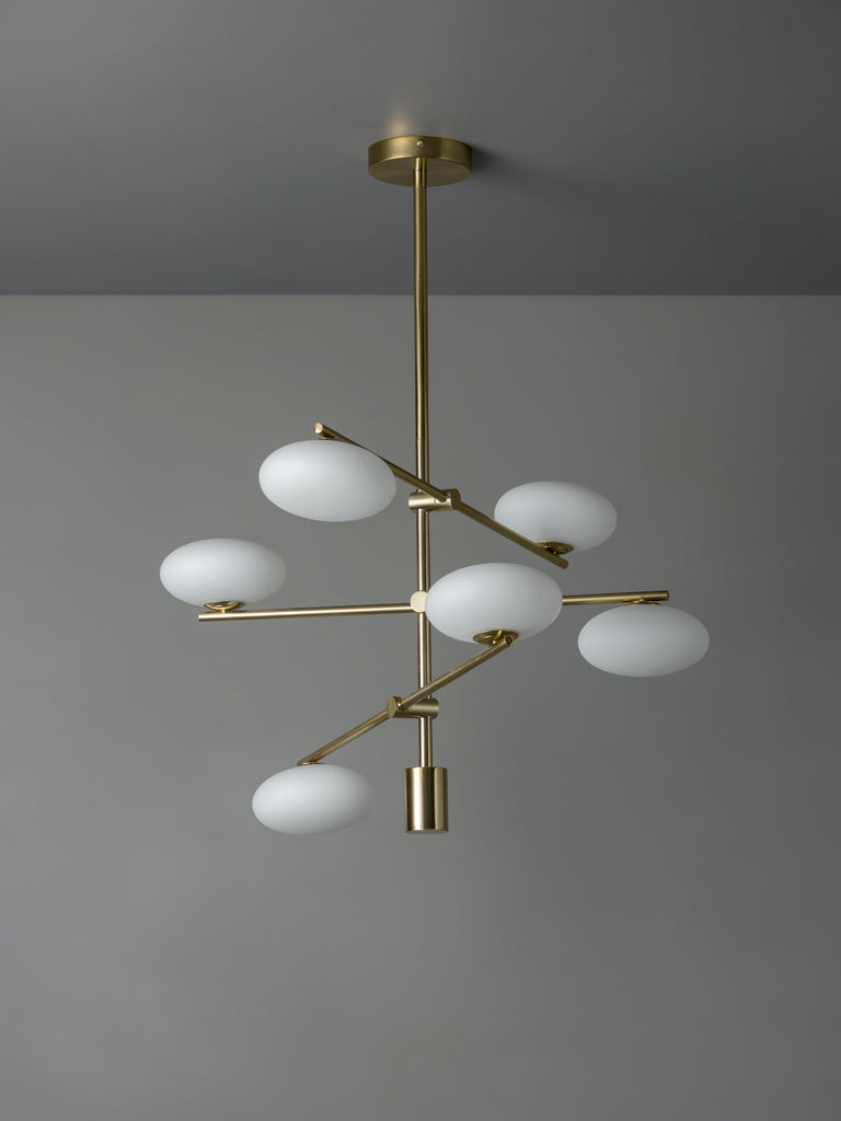 Imperial - 6 light brass and opal pendant