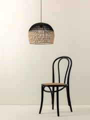 Bilu - black and natural ombre rattan easy fit lampshade