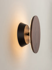 Santi - LED Adjustable Walnut Disk Wall Light