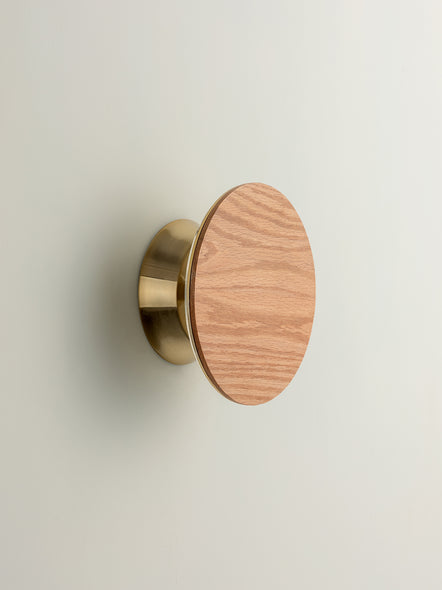 Santi - LED adjustable oak disk wall light