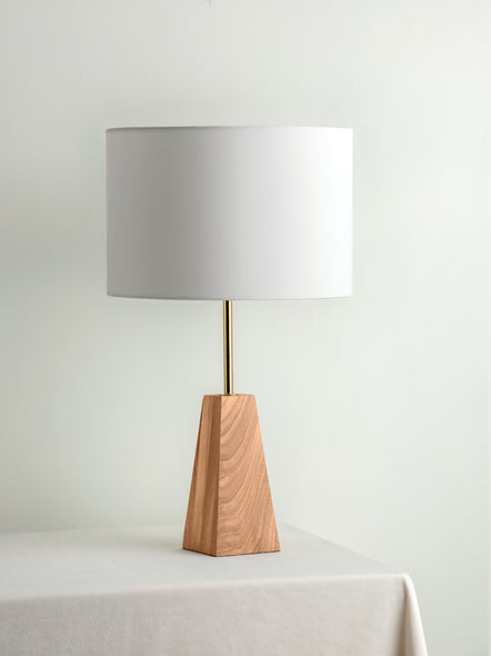 Ardo - oak and brass table lamp | Buy from Lights & Lamps - Lightsandlamps.com