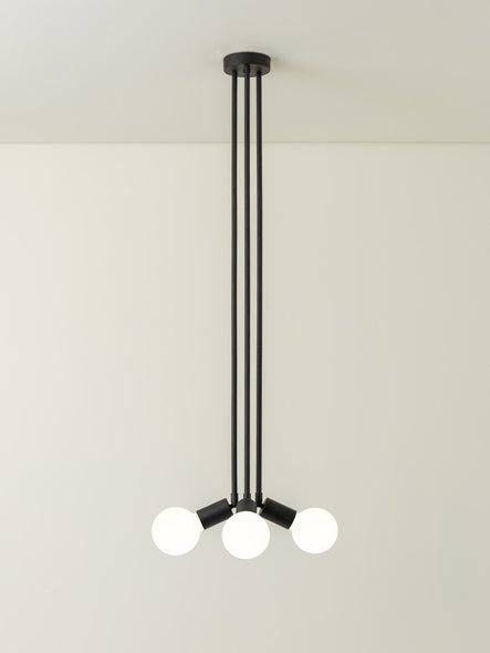 Lever - 3 light matt black flush pendant