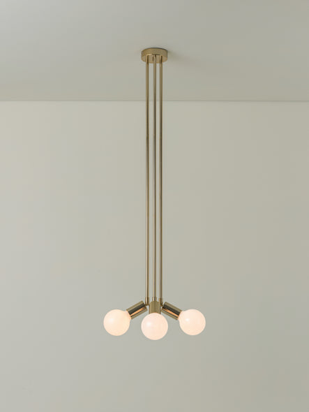 Lever - 3 light brass flush pendant