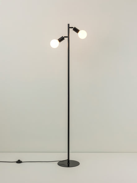 Lever - 2 light matt black task floor lamp