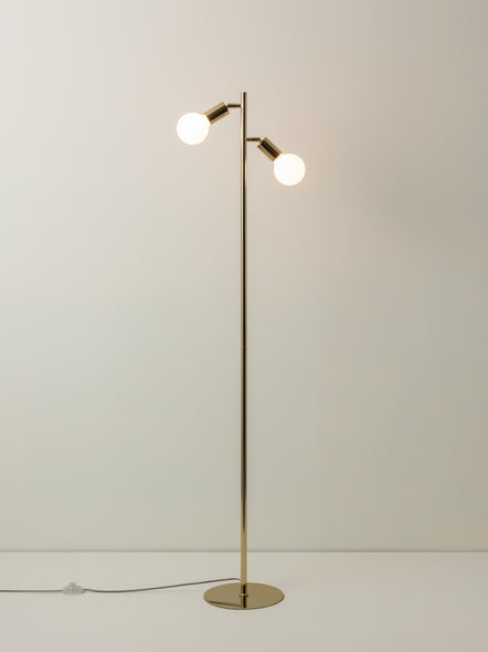 Lever - 2 light brass task floor lamp