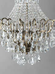 Lina - 4 light antique brass crystal glass chandelier