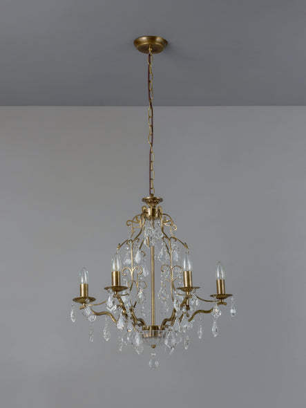 Modena - 6 light aged brass crystal glass chandelier