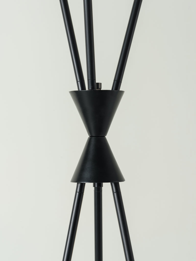 Nola - 3 light matt black and brass tripod floor lamp