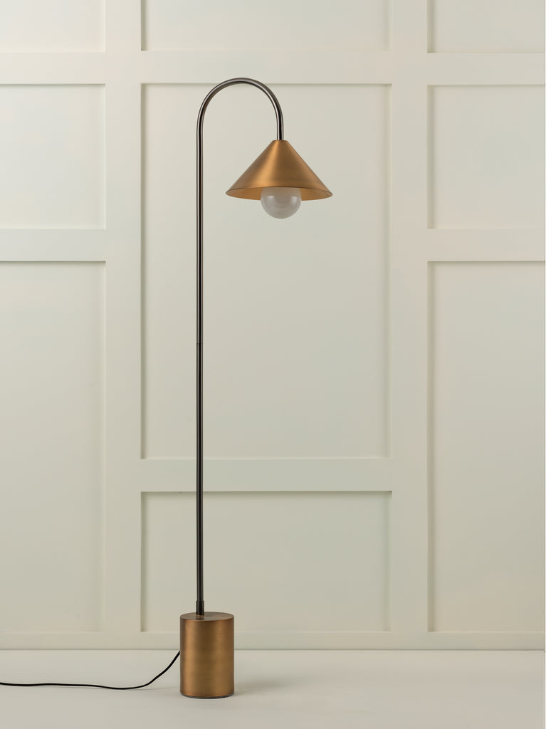 Orta - 1 light antique silver and burnished brass cone floor lamp