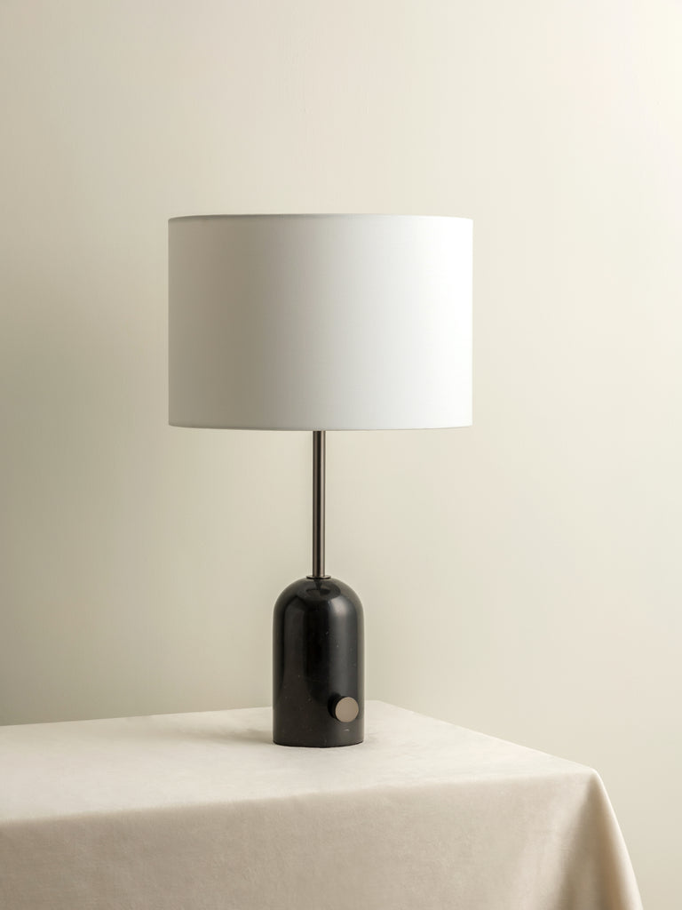 Penn - black marble and graphite silver table lamp