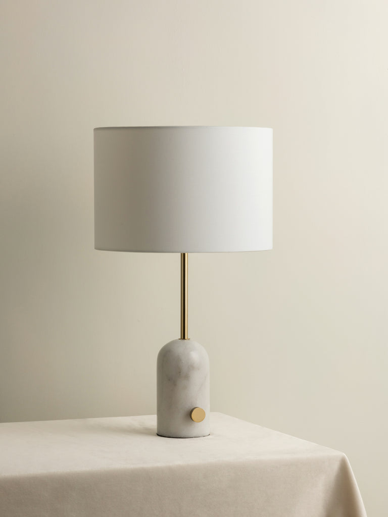Penn - white marble and brass table lamp