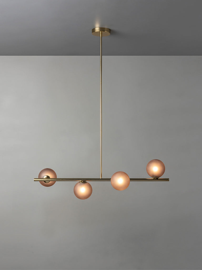 Perch - 4 light brass and smoked frosted pendant bar