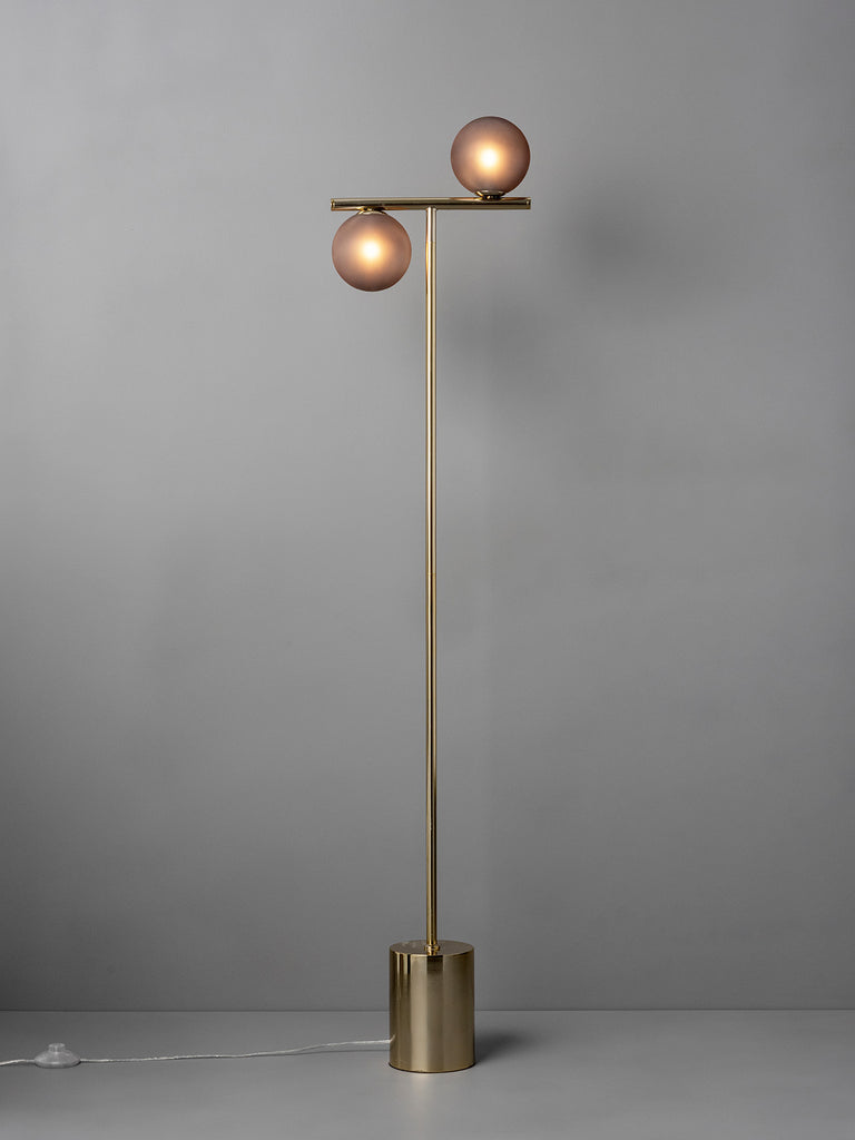 Perch - 2 light brass and smoked frosted floor lamp