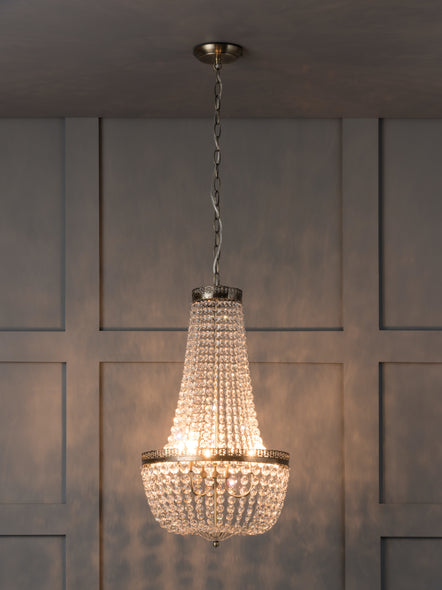 Pioni - 3 light antique brass crystal glass chandelier