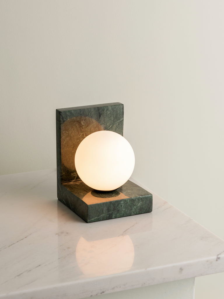 Remi 1 Light Green Marble And Opal Table Lamp Lights Lamps