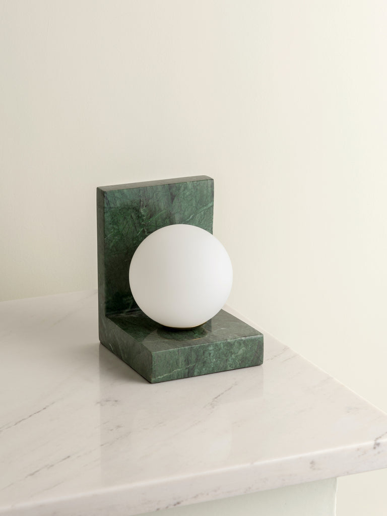 Remi - 1 light green marble and opal ball table lamp
