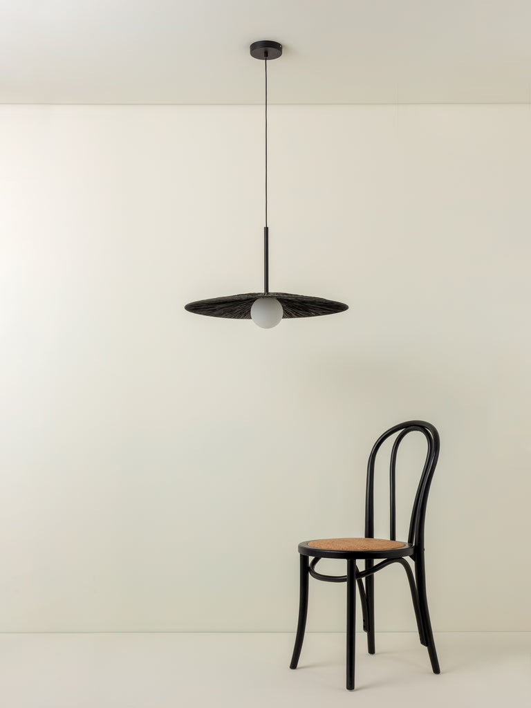 Ridotti - 1 light matt black raffia pendant
