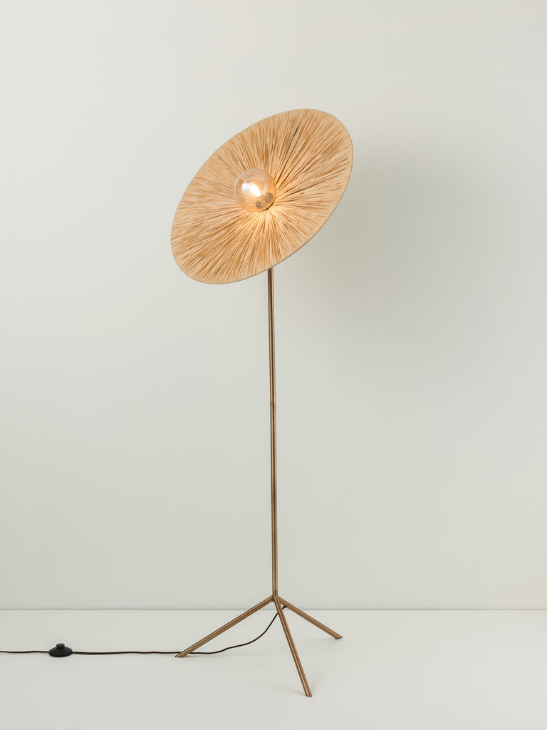 Ridotti - 1 Light Natural Raffia and Burnished Brass Floor Lamp