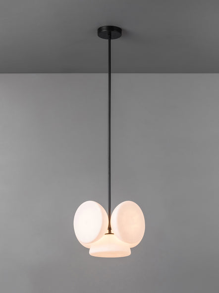 Silio - 5 light matt black and opal pendant