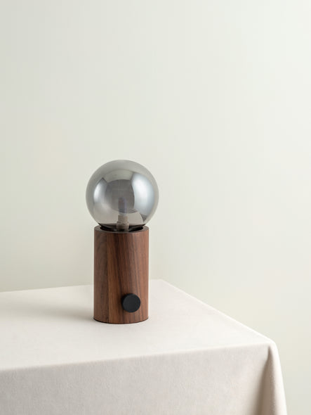 Treve - 1 light walnut and smoked ball table lamp