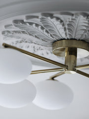 Imperial - 5 light brass and opal flush