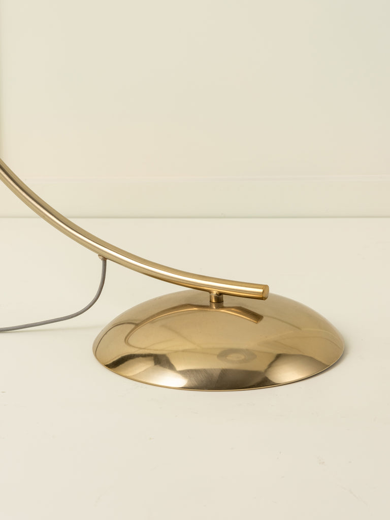 Circo - 1 light arc brass and natural linen floor lamp