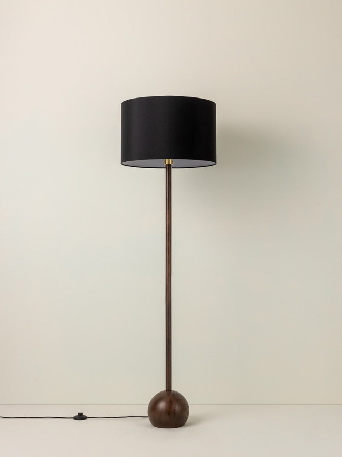 Ilex - 1 light dark oak wood floor lamp