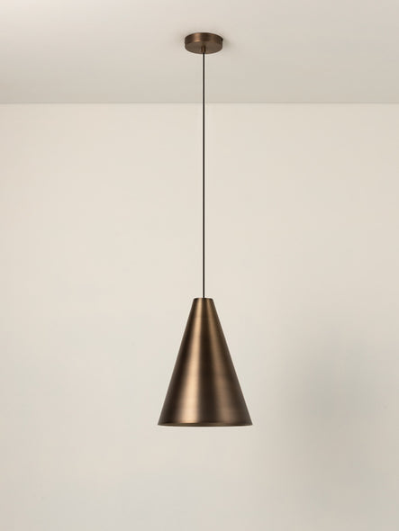 Orta - 1 light burnished brass tall cone pendant