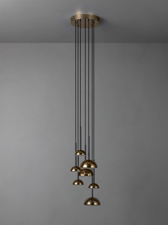 Silio - 7 light brass and opal cluster