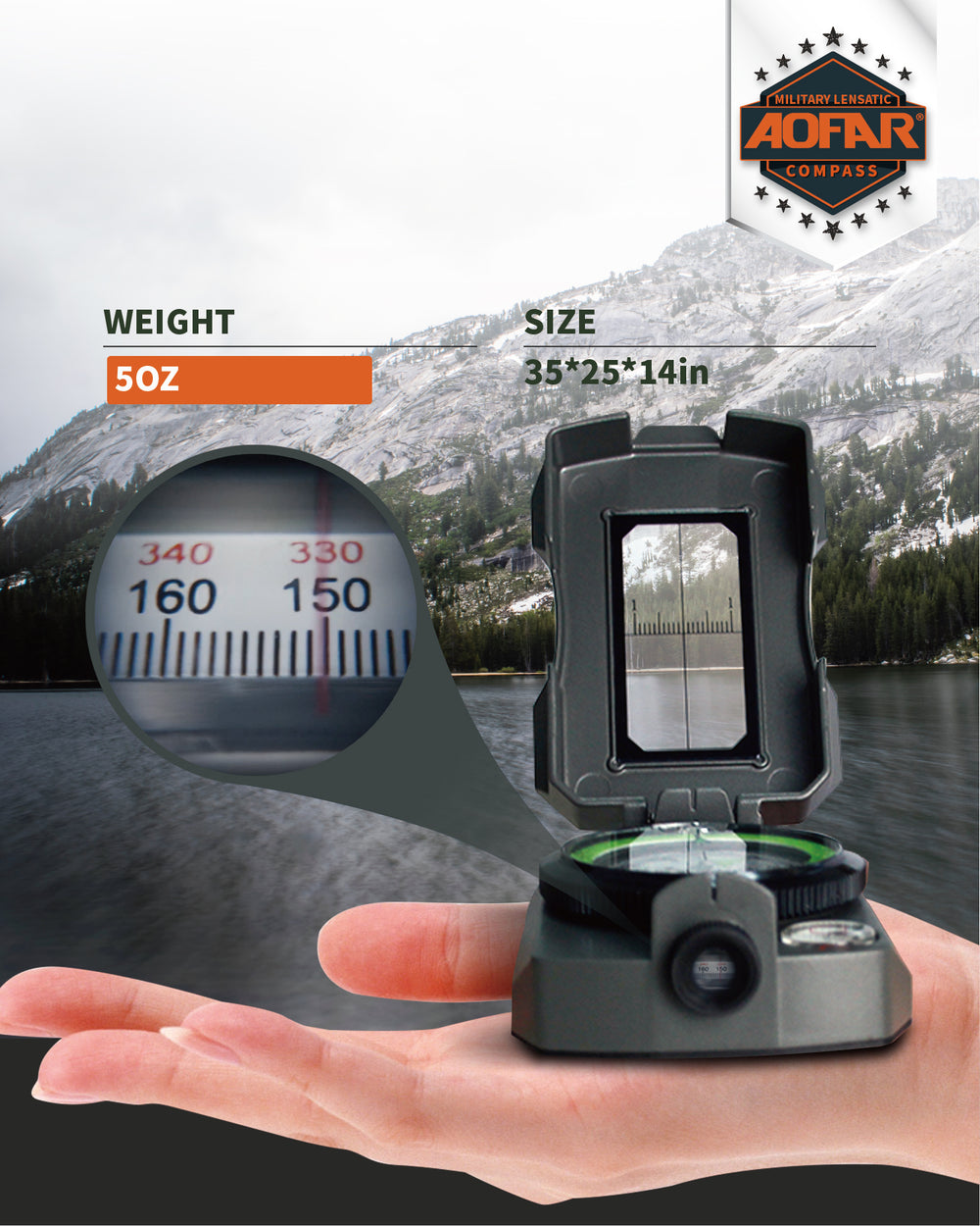 AOFAR AF-4090 Multifunctional Military Compass, Waterproof and Shakeproof with Signal Mirror,Whistle,Fishing Hook and Line for Camping,Boy Scount,Geology Activities Boating