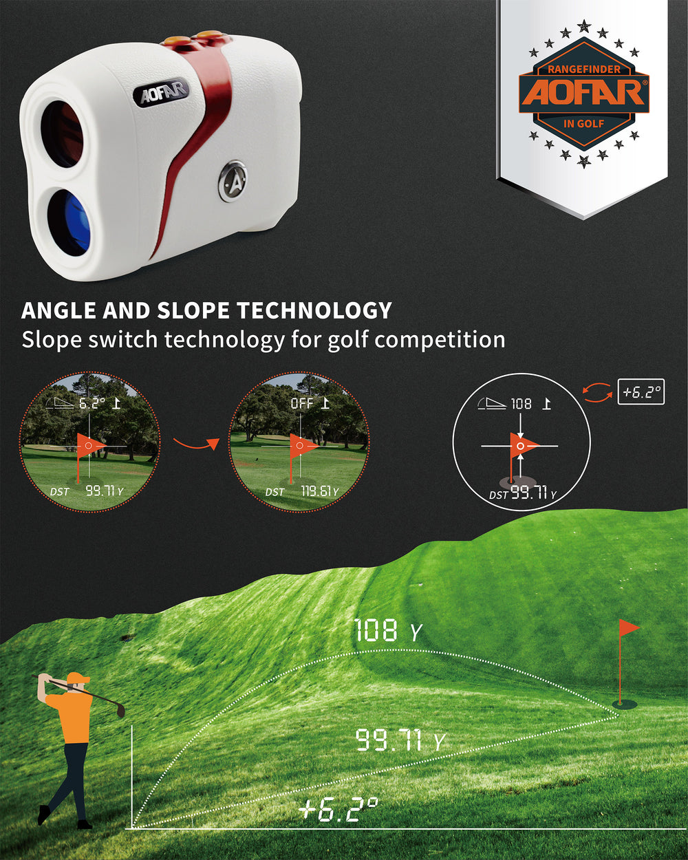 AOFAR GX-3N latest version Golf Range Finder, 800 Yards Rangeinder Slope and Angle, Gift Packaging