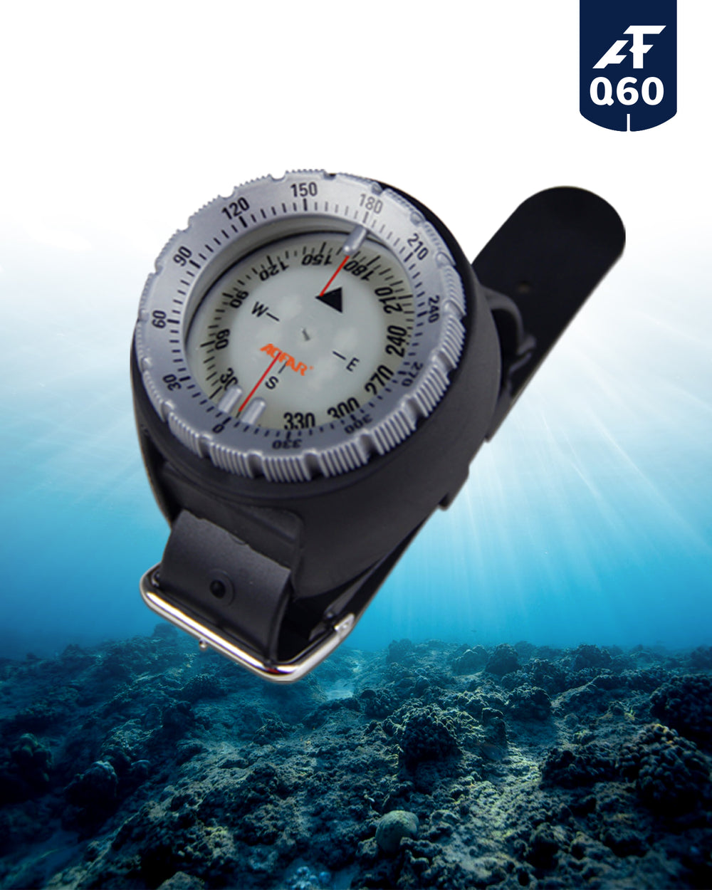 AOFAR Dive Wrist Compass AF-Q60 waterproof for Sailing, Diving