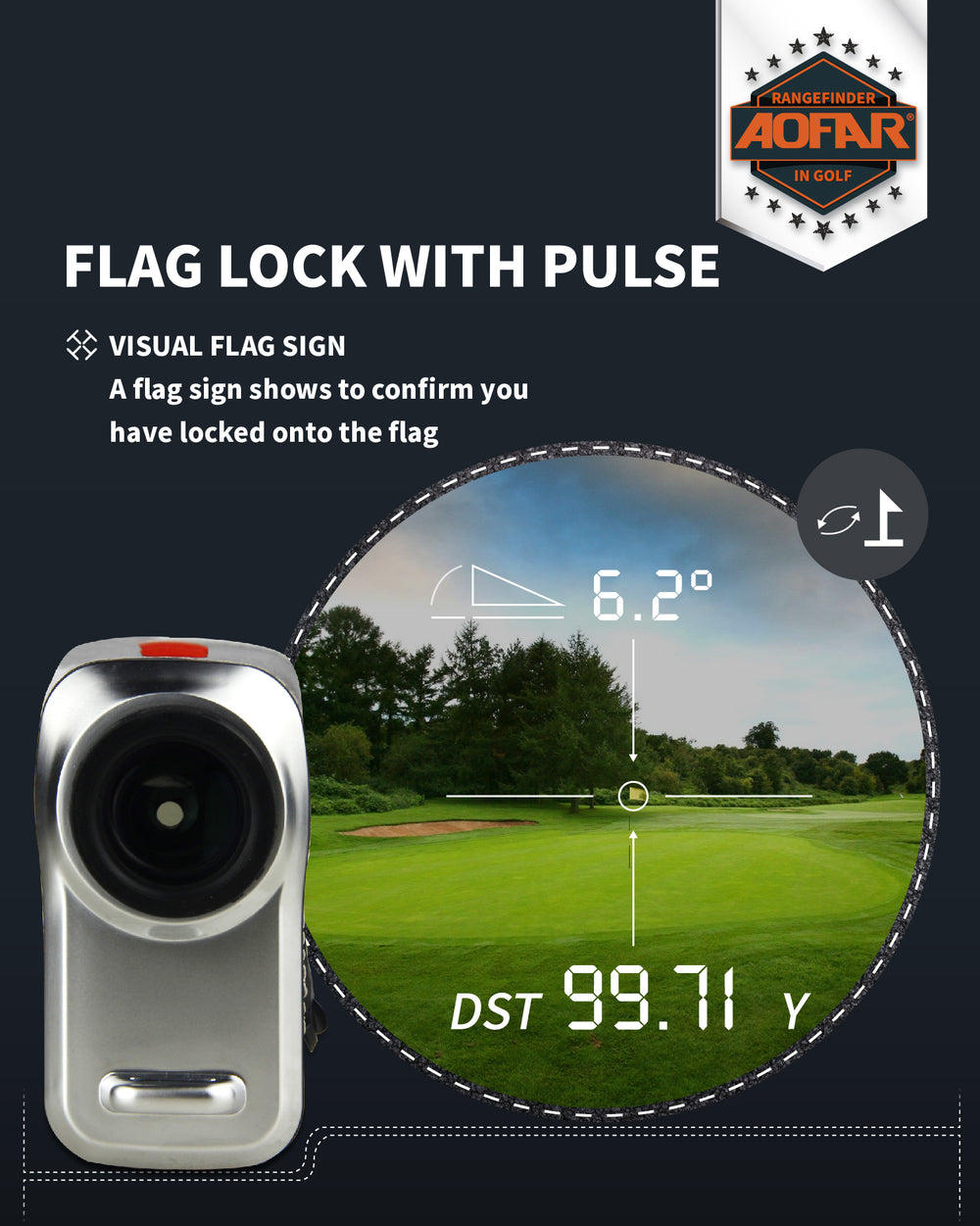 AOFAR GX-5N Golf Rangefinder with Slope On/Off Indicator, Flag-Lock Vibration, 800 Yards with Hi-Precision