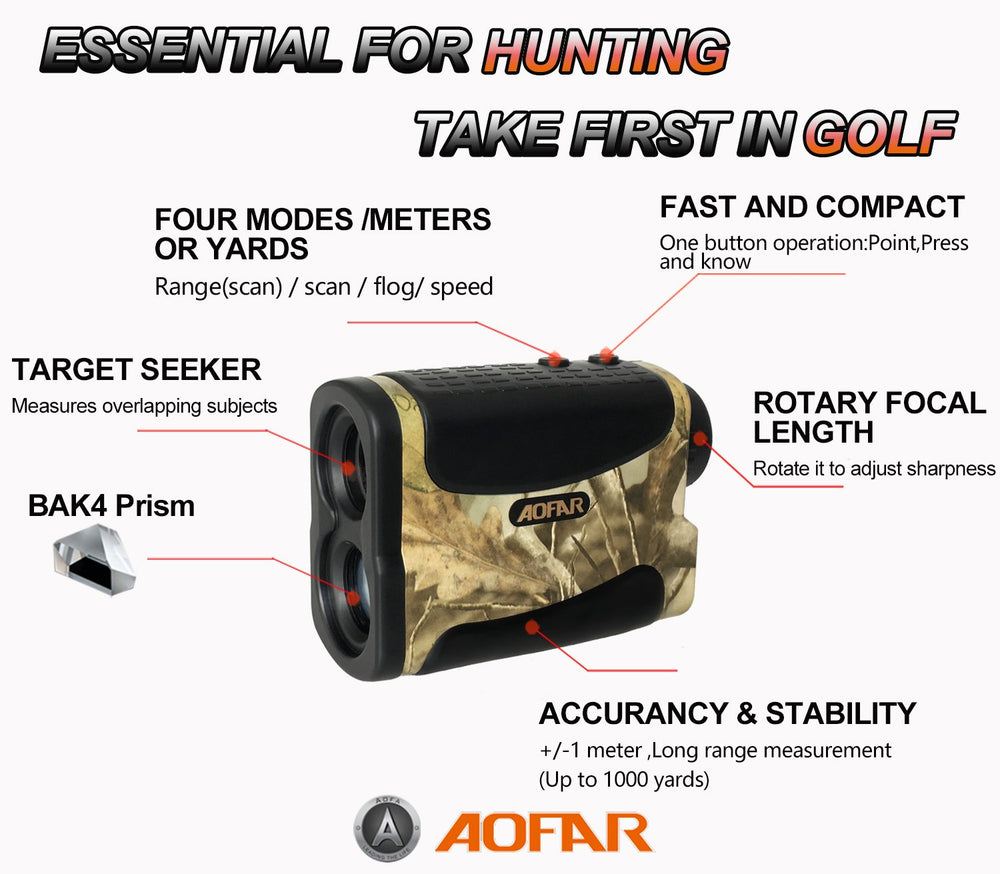 AOFAR Hunting Archery Range Finder 1000 Yards Waterproof for Bow Hunting with Range Scan Fog and Speed Mode