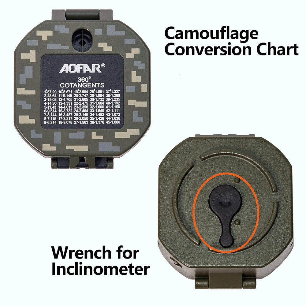 AOFAR Military Compass Lensatic Sighting-Multifunctional, Fluorescent, Waterproof and Shakeproof with Inclinometer and Carrying Bag