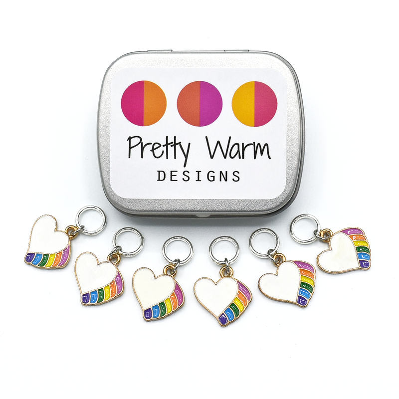 Rainbow Heart Stitch Markers