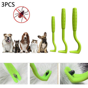 3PCS/Set Cat Dog Pet Tick Remover Set Tool Hook Tool, Lice Removal Twister Hook Tool Picker Fleas Comb