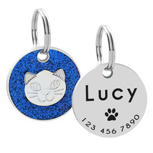 Load image into Gallery viewer, Custom Cat ID Tag Personalized Cat Name Tag Pendant Collar Engraved Cats Kitten Name Plate Accessories Paw Round Glitter Pink