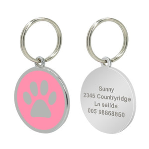 Custom Cat ID Tag Personalized Cat Name Tag Pendant Collar Engraved Cats Kitten Name Plate Accessories Paw Round Glitter Pink