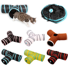 Load image into Gallery viewer, 2/3/4/5 Holes Pet Cat Tunnel Toys Foldable Pet Cat Training Toy Interactive Tube Fun Toy For Cat Rabbit Animal Play Tunnel Tube