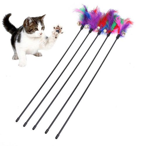5Pcs Pet Kitten Colorful Feather Bell Teaser Stick Rod Play Interactive Toy