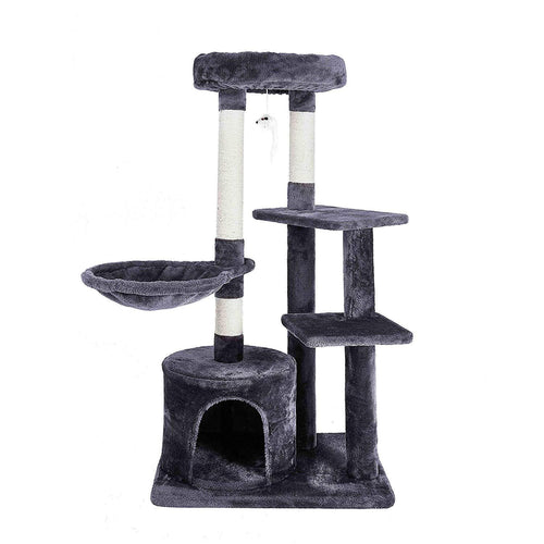 Cat Tree Climbing Frame Scratching Board Post with Cradle Cats Tower Pet Toy Reinforced Columns Height 106cm  C05