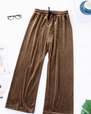Get Cozy Velvet Pants- Brown