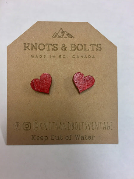 Mini Wooden Heart Studs- Assorted Colours