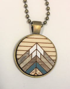 The Mountains Are Calling Necklace- Teal Mix