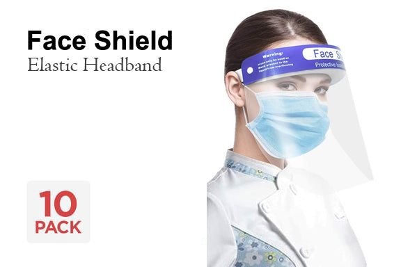 Face Shield with Elastic Headband - 10 Pack - impact PPE