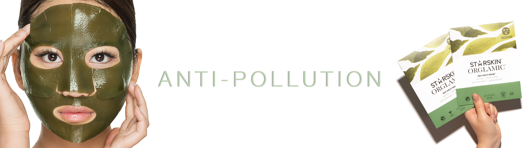 Anti pollution banner with sea kelp sheet mask